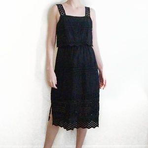 J. Crew Tiered Eyelet 100% Cotton Black Midi Dress